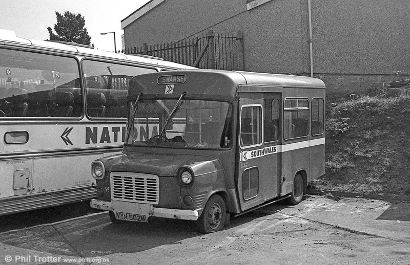 Displaced by the two new Bedford CFs, 99 (VYM 502M), a 1974 Ford Transit/Strachan B16F obtained for 'Gower Pony' services in 1977 is seen at Ravenhill.