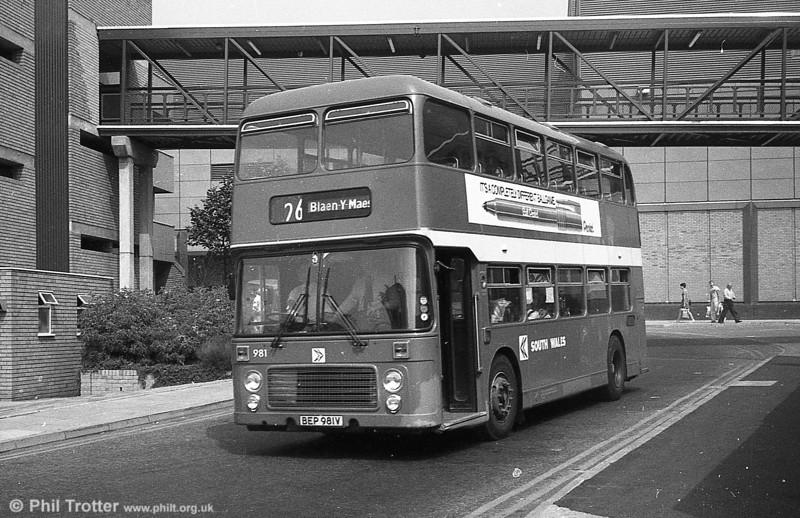 Bristol VRT SL3/ECW H43/31F 981 (BEP 981V) at Swansea.