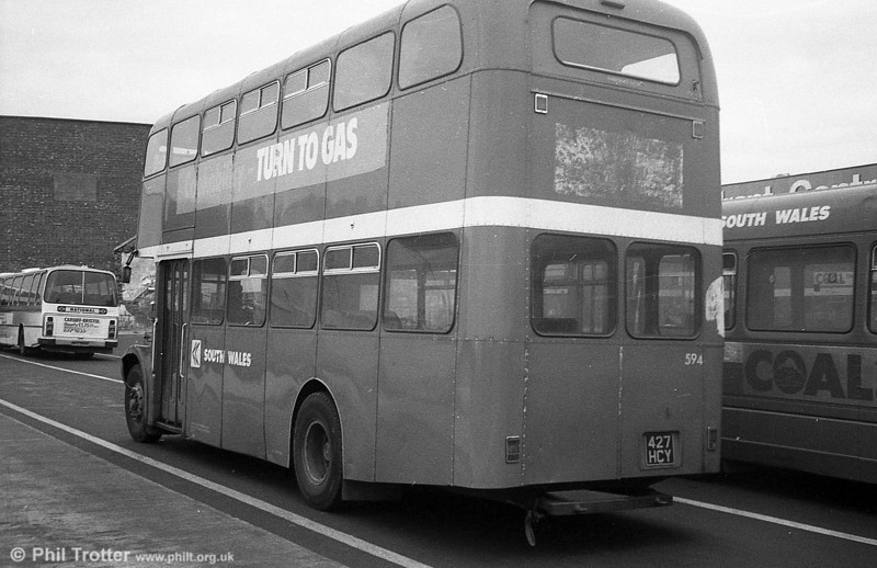 1964 AEC Regent V/Weymann H39/32F 594 (427 HCY) in use as a towing vehicle.