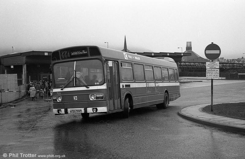 755 (JTH 755P), a Leyland National B52F at Port Talbot.