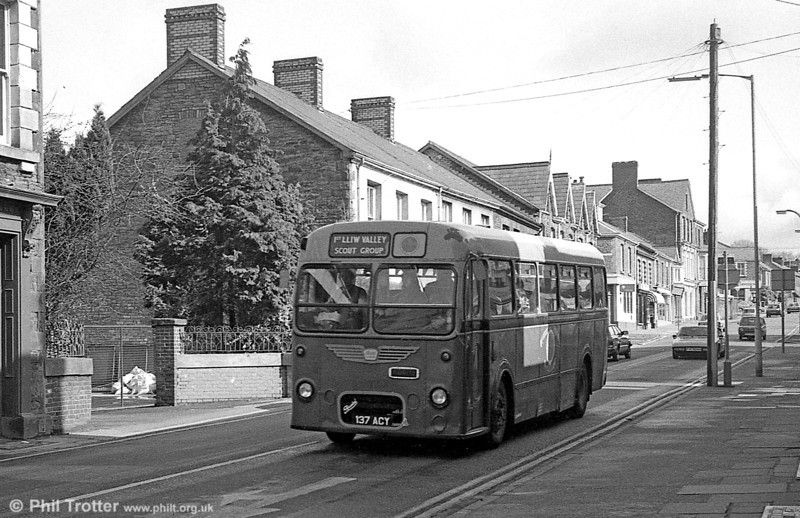 Now preserved, Bristol MW6G/ECW B45F 389 (137 ACY) was being used by 1st Lliw Valley (Loughor) Scout Group when seen at Clydach in 1976.