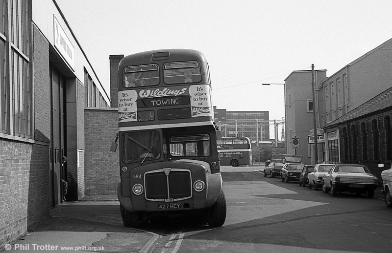 1964 AEC Regent V/Weymann H39/32F 594 (427 HCY) in use as a towing vehicle at Clarence Terrace.