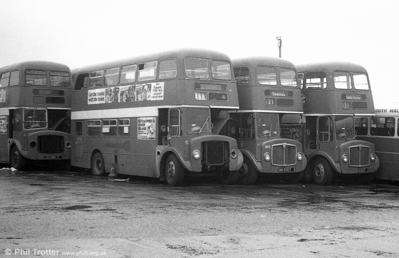 AEC Regent V/Willowbrook H37/27F 878, 893 and 891 (GWN 856D,  871/69E) stored at Neath.