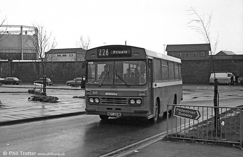 Ford R1014/Duple B43F 263 (NCY 263R) at Swansea.
