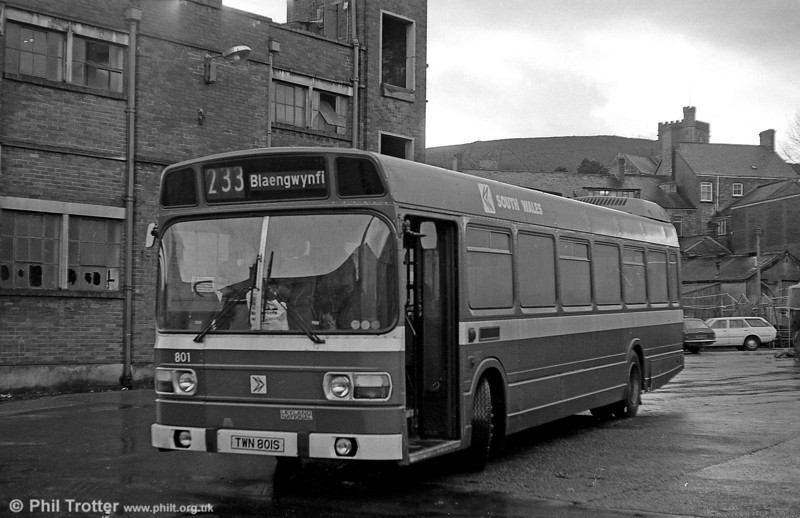 Leyland National B52F 801 (TWN 801S) at Maesteg.