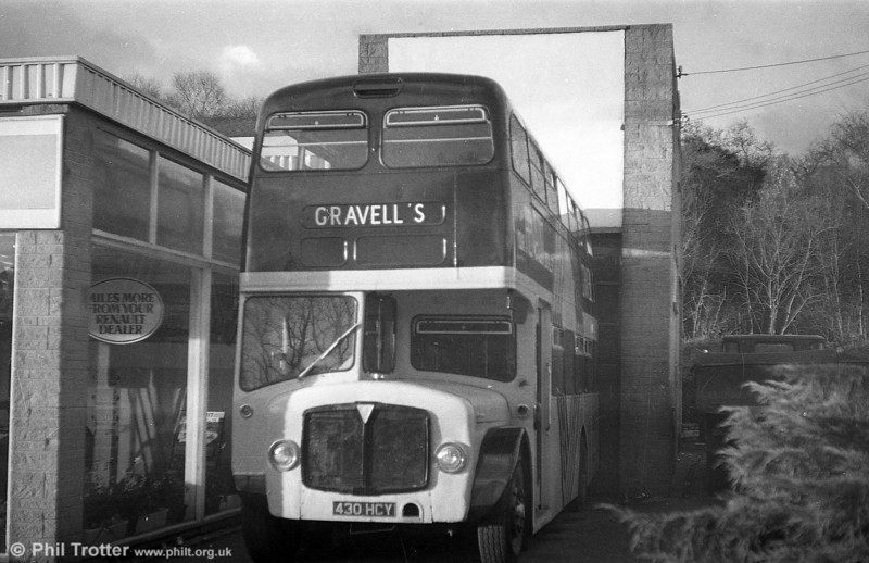 AEC Regent/Park Royal 597 (430 HCY) was sold to Pinged Hill Motor Group, Kidwelly, for use as a mobile office/exhibition.
