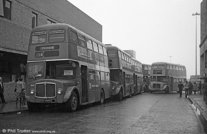 AEC Regent V/Willowbrook H37/27F 869 (CCY 989C) and the remaining Regents at Swansea during the final tour of February 27th 1982.