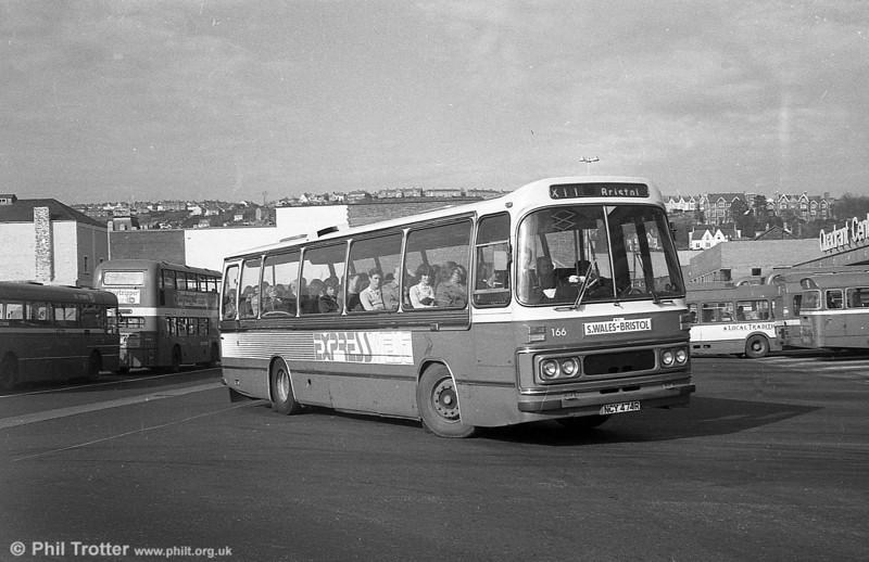 Leyland Leopard/Duple DP49F 166 (NCY 474R) at Swansea.