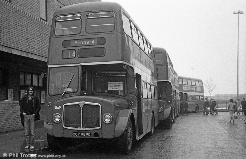 AEC Regent V/Willowbrook H37/27F 869 (CCY 989C) at Swansea during the final tour of February 27th 1982. Whatever happened to Paul Morgan...?