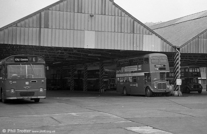 AEC Regent V/Willowbrook H39/32F 584 (152 FCY) at Brunswick St.<br /> Brunswick St. was SWT's original Swansea depot, having been taken over from a builders' merchant in the early years of the company.