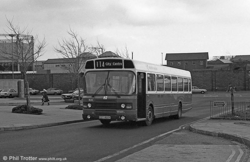 Leyland National 2/B52F 820 (CCY 820V) at Swansea.