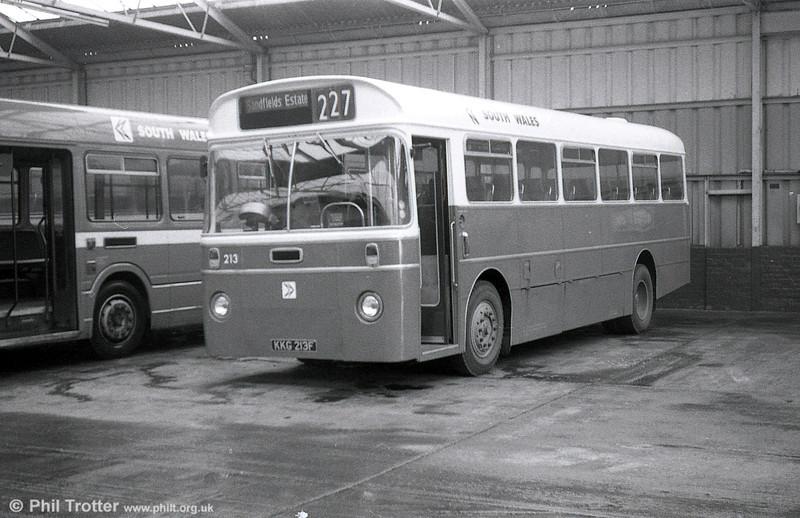 AEC Reliance/Marshall DP41F 213 (KKG 213F), ex-Western Welsh, at Port Talbot.