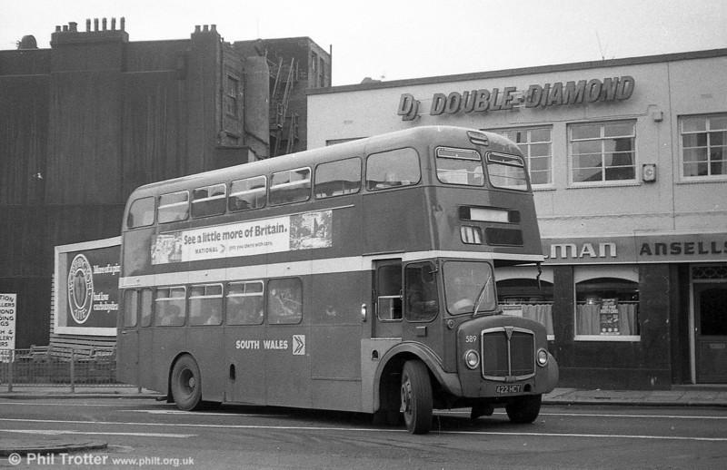 1964 AEC Regent V/Weymann H39/32F 589 (422 HCY) at Swansea.