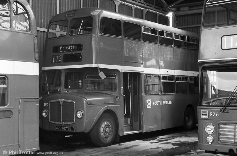 1964 AEC Regent V/Weymann H39/32F 590 (423 HCY) tucked away at Llanelli.