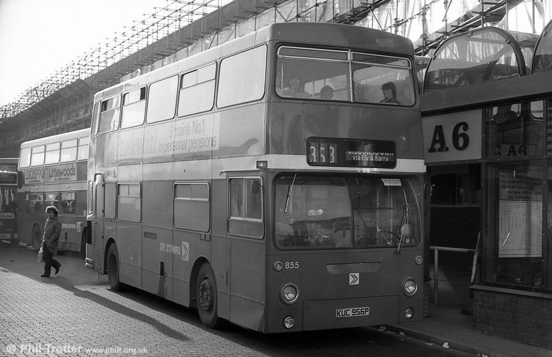 Daimler Fleetline/MCW H44/32F 855 (KUC 956P), formerly LT DMS1956 on hire to National Welsh at Cardiff.