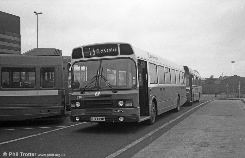 Leyland National 2/B52F 820 (CCY 820V) in DP livery at Swansea.