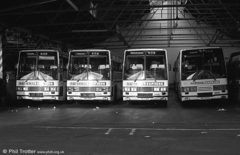 A line up of Leyland Tiger/ Duple Caribbean coaches 126, 123, 124 and 119 at Brunswick Street after they had been reregistered with 'MKH' plates. Note that theose from the later batch had chrome grilles.