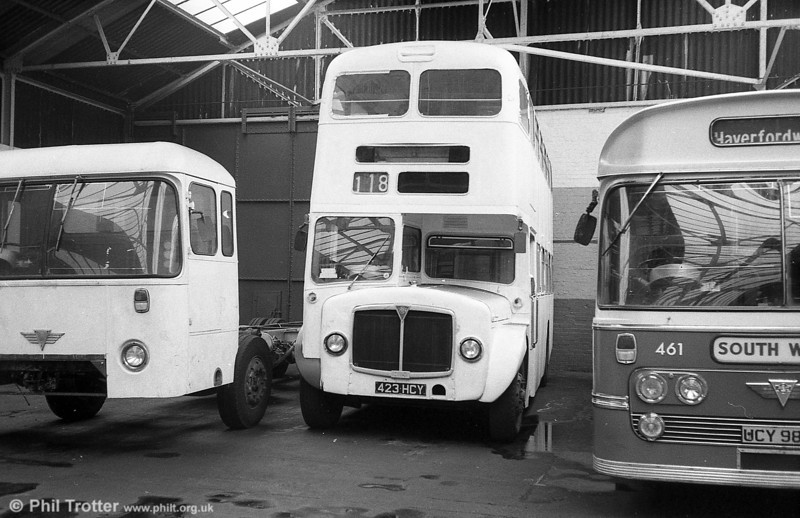 1964 AEC Regent V/Weymann H39/32F 590 (423 HCY) presents a ghostly appearance during conversion to an exhibition bus.