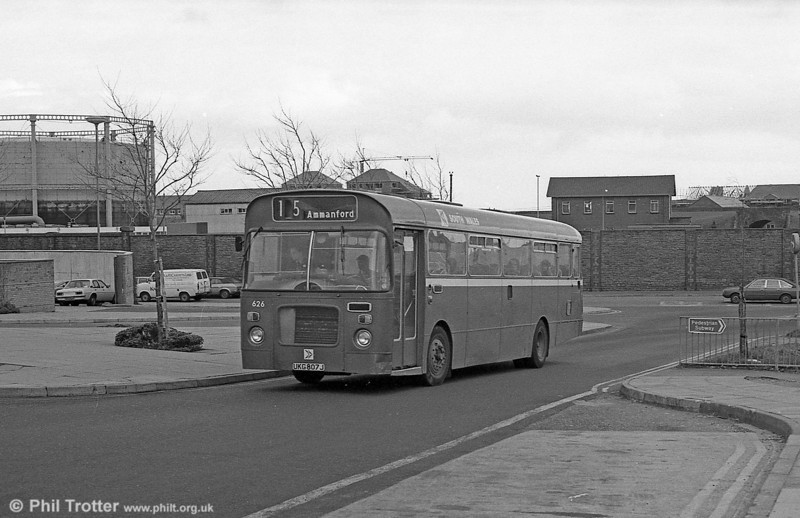 Bristol RELL6L/Marshall B51F 626 (UKG 807J) enters Swansea Bus Station. These Leyland-engined vehicles could shown a good turn of speed when required.