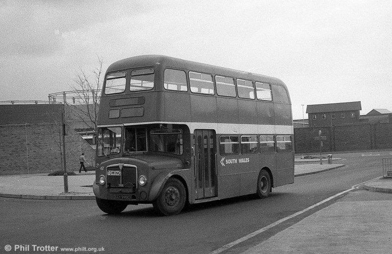 AEC Regent V/Willowbrook H37/27F 820 (CCY 990C) at Swansea, as towing bus 62.