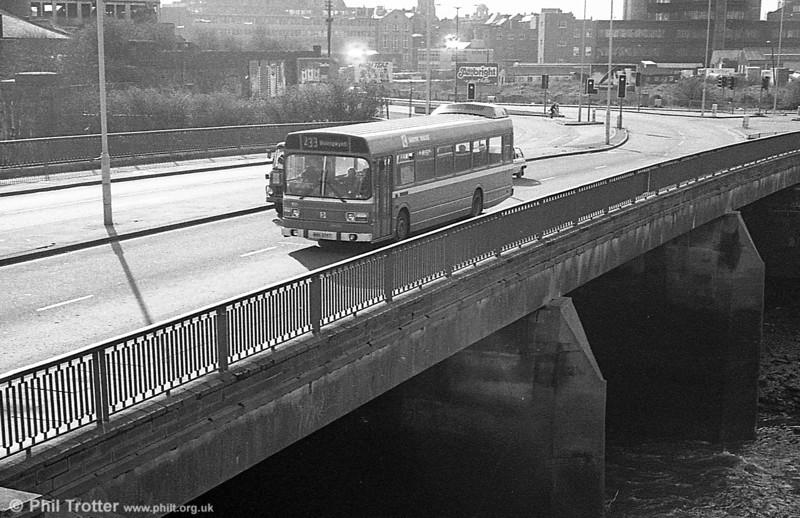 Leyland National B52F 805 (WWN 805T) crosses the River Tawe Bridge at Swansea.