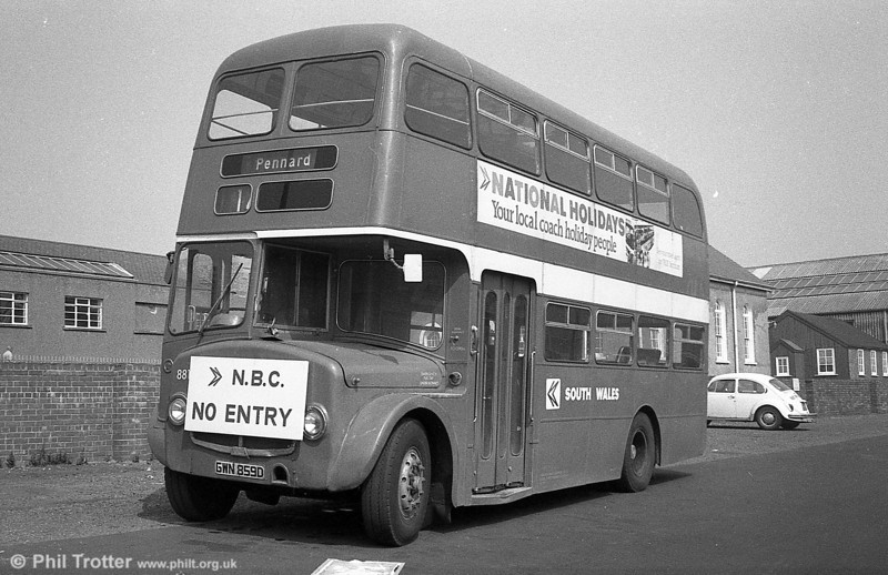 AEC Regent V/Willowbrook H37/27F 881 (GWN 859D) at Gorseinon.