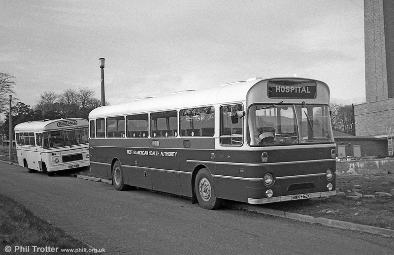 AEC Reliance/Marshall DP 49F 462 (BWN 462K) after sale to West Glamorgan Area Health Authority for staff transport.