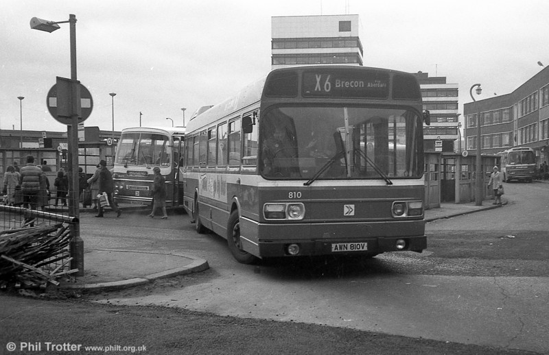 Leyland National/B52F 810 (AWN 810V) at Cardiff.