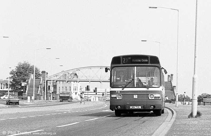 713 (LWN 713L), a Leyland National B52F seen at St. Helens.