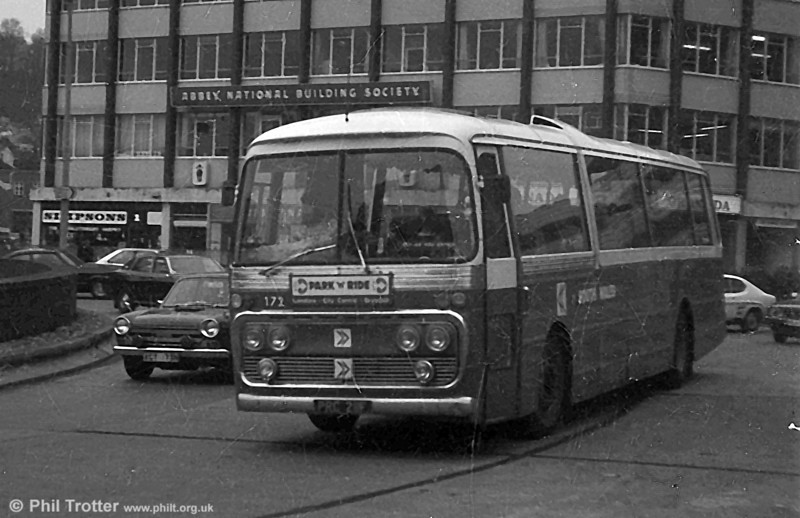 171 (PRC 210F) a 1968 Leyland Leopard/Plaxton DP47F on a Swansea Park & Ride service.