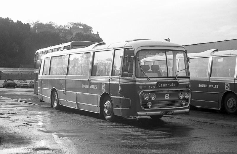 170 (PRC 209F) a 1968 Leyland Leopard/Plaxton DP47F at Haverfordwest.