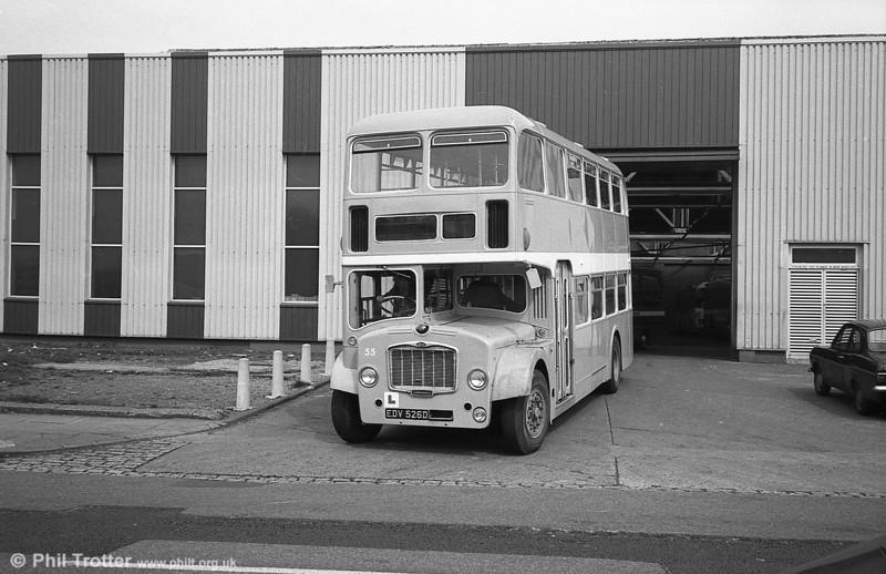 55 (EDV 526D) a Bristol FLF6G / ECW H38/32F training vehicle, formerly Western National 2114.