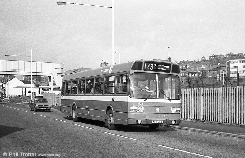 Leyland National B52F 826 (NFN 75M), ex-East Kent 1075 at Briton Ferry.