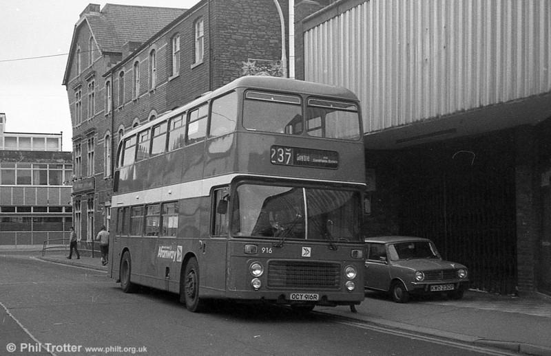 Bristol VRT/ECW H43/31F 916 (OCY 916R) at Neath.