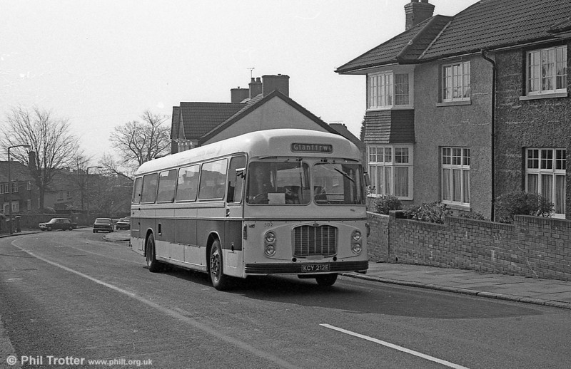 In September 1980, Bristol RELH6G/ECW DP47F 166 (KCY 212E), withdrawn some time previously, reappeared numbered 502 in a new livery with a 'BET red' band.