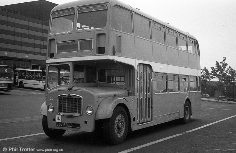 55 (EDV 526D) a Bristol FLF6G / ECW H38/32F training vehicle, formerly Western National 2114.