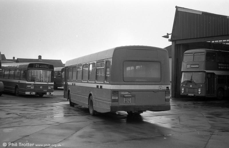 Leyland National 2/B52F 817 (CCY 817V) at Ravenhill.