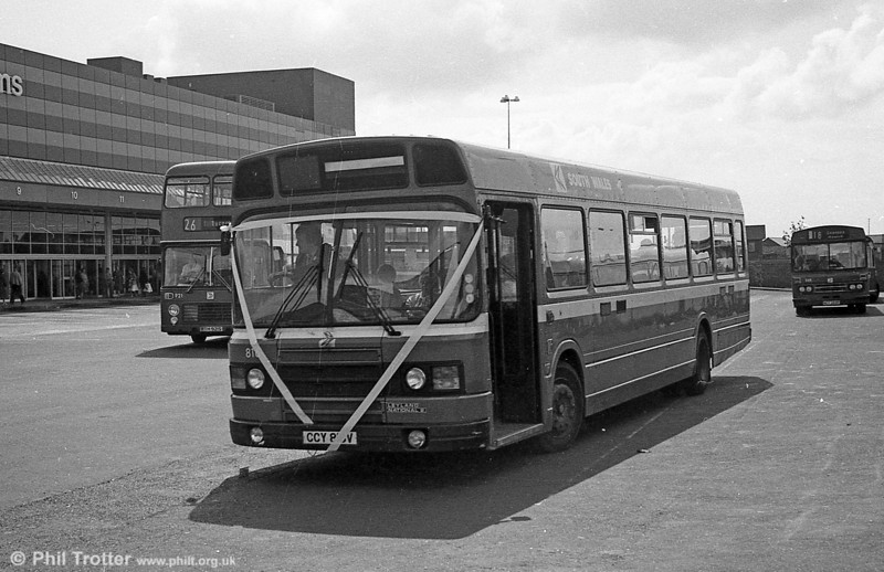 Leyland National 2/B52F 816 (CCY 816V) on a wedding charter at Swansea.
