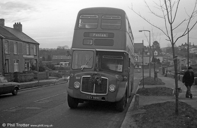 AEC Regent V/Willowbrook H37/27F 869 (CCY 989C) at Cockett during the farewell tour of December 19th 1981.