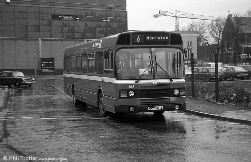 Leyland National 2/B52F 818 (CCY 818V) at Swansea.
