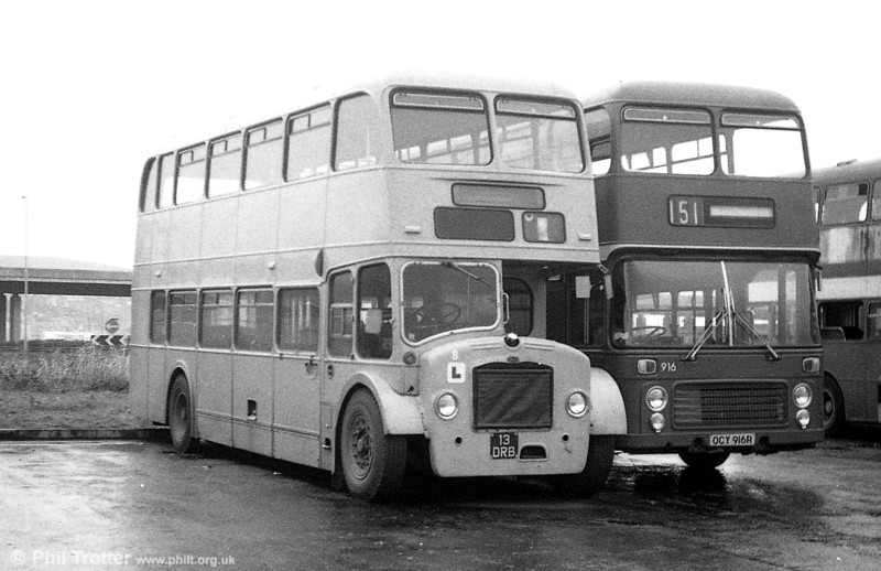 Something of a rarity and which definitely would be a preservation candidate nowadays, 13 DRB was once the sole Bristol LDL6G in the Midland General fleet. New in 1957 with an Eastern Coachworks H37/33R body it was fitted with platform doors in June 1964 and passed to South Wales as number 906 in September 1971, later becoming a training vehicle.
