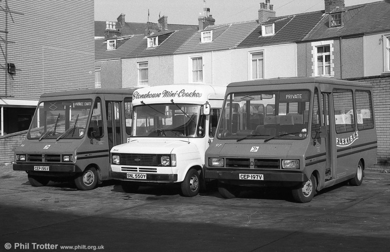 Bedford CFs/Reebur DP17F 96 and 97 (CEP 196/7V) with an on-hire Ford Transit, SNL 550Y.