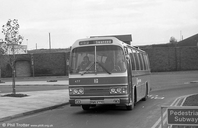 Leyland Leopard/Duple DP49F 477 (RWN 477S) at Swansea.