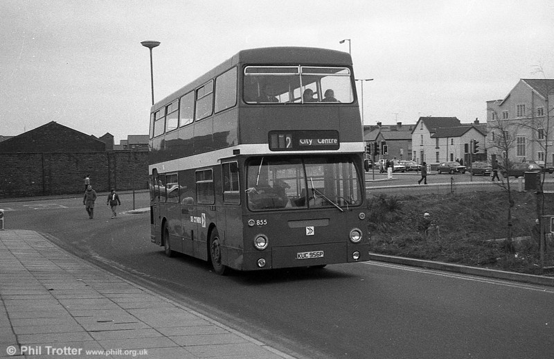 Daimler Fleetline/MCW H44/32F 855 (KUC 956P), formerly LT DMS1956 at Swansea.