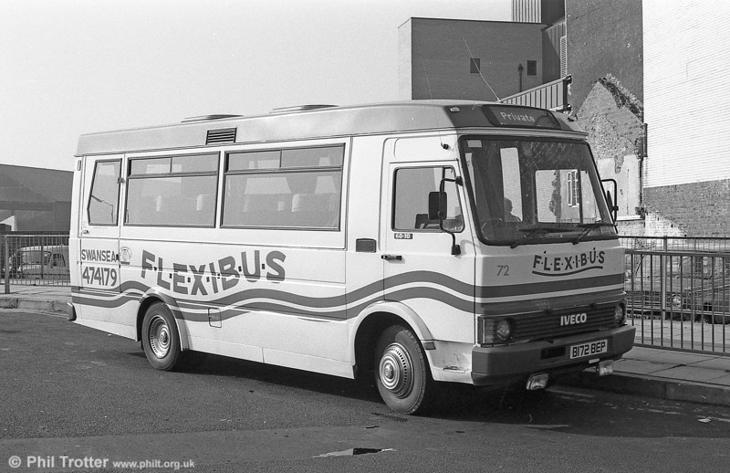 South Wales operated this 1985 Iveco 60/Robin Hood DP19F 72 (B172 BEP) as part of its 'Flexibus' private hire fleet.