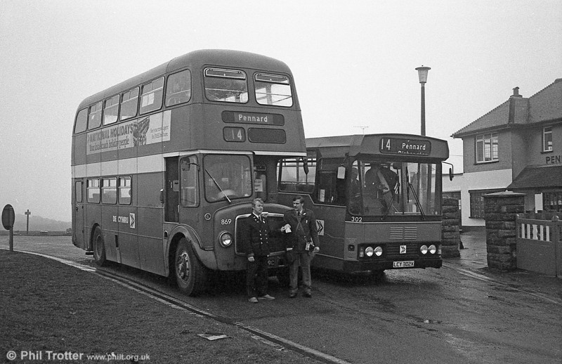 AEC Regent V/Willowbrook H37/27F 869 (CCY 989C) at Pennard during the final tour of February 27th 1982.