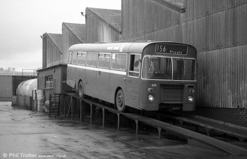 Bristol RELL6L/Marshall B51F 633 (UKG 814J) on the the inspection ramp at the former Western Welsh depot in Neath.