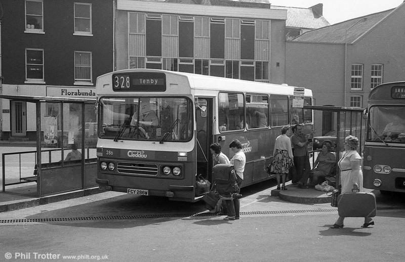 286 (FCY 286W), a 1981 Bedford YMQ/Duple DP45F at Carmarthen.