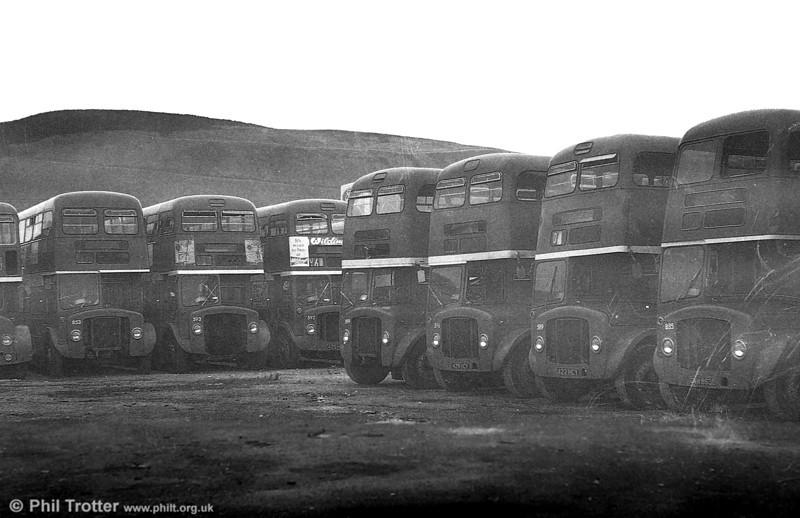 AEC Regent V/Willowbrook H37/27F 885 (GWN 863D) and several others at Port Talbot.