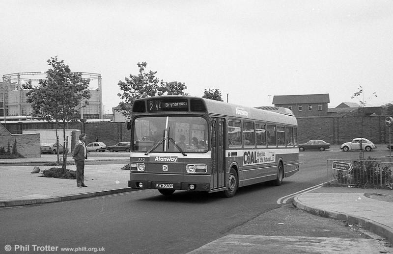 770 (JTH 770P), a Leyland National B52F at Swansea.